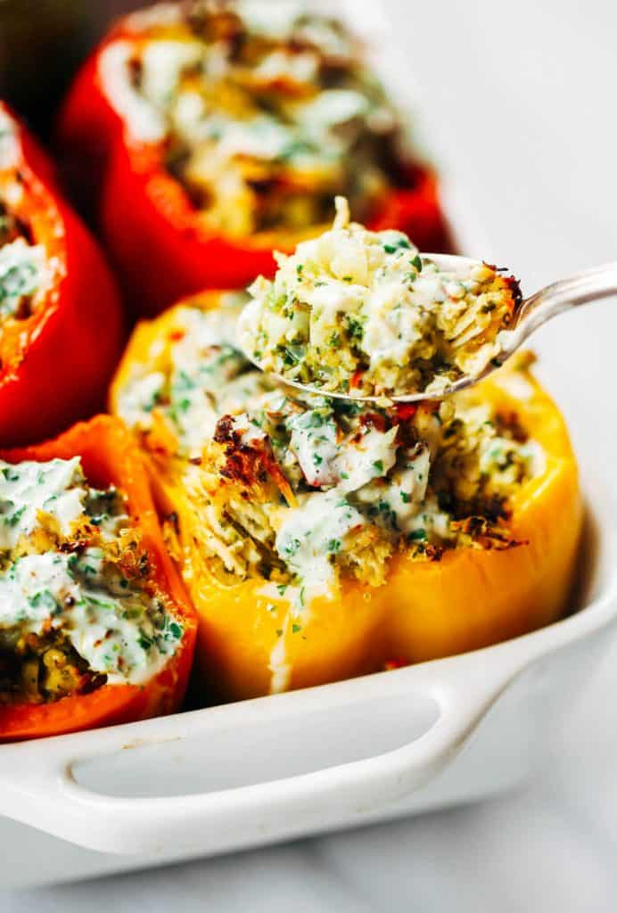 Paleo Chicken Ranch Stuffed Bell Peppers