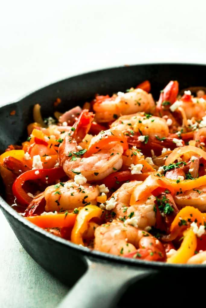 Shrimp Bell Peppers and Onions Skillet