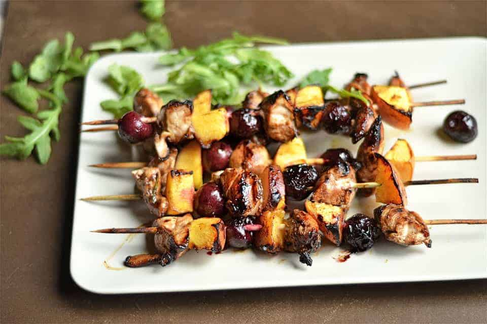 grilled balsamic chicken cherry and peach kebabs