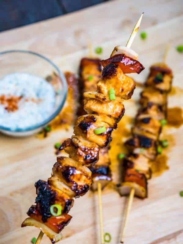 honey sriracha chicken kebabs