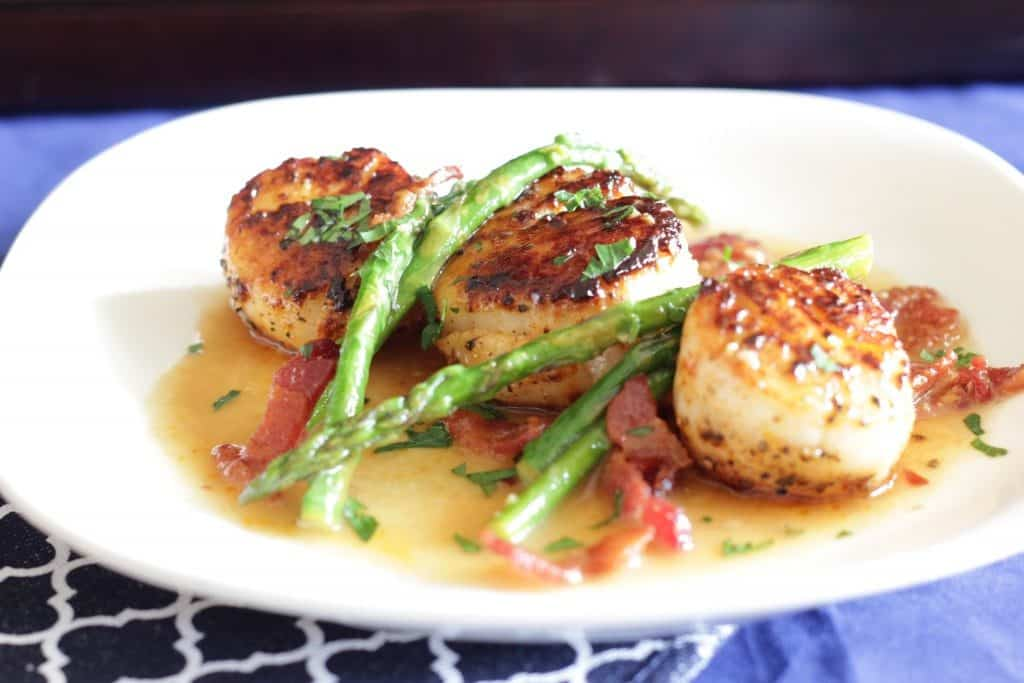 scallops with bacon and asparagus