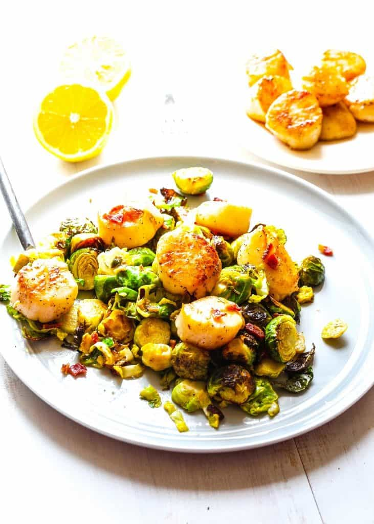seared scallops with warm shredded brussels sprouts