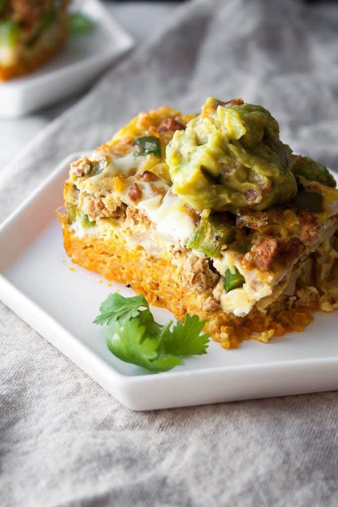 taco frittata with sweet potato crust