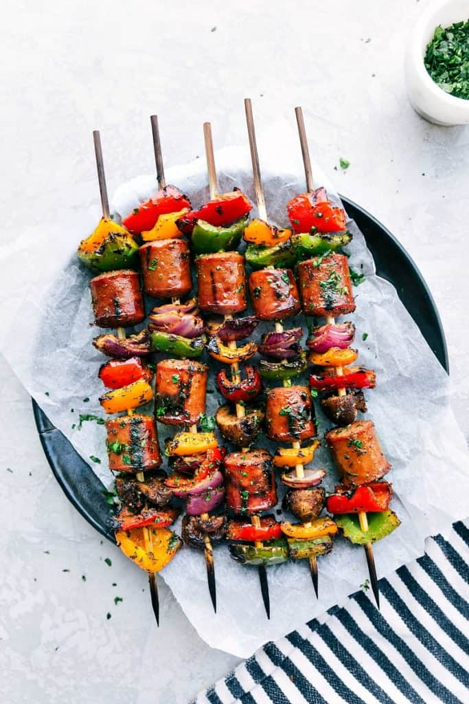 vegetable and sausage kebabs