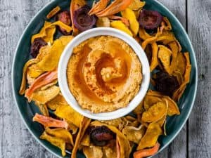 Oven Baked Vegetable Chips with Sundried Tomato Hummus