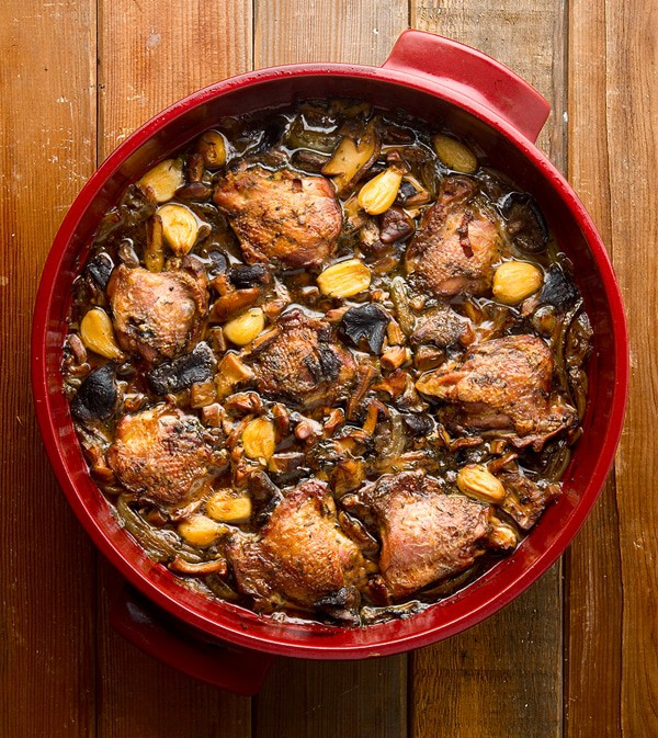 braised pheasant with mushrooms