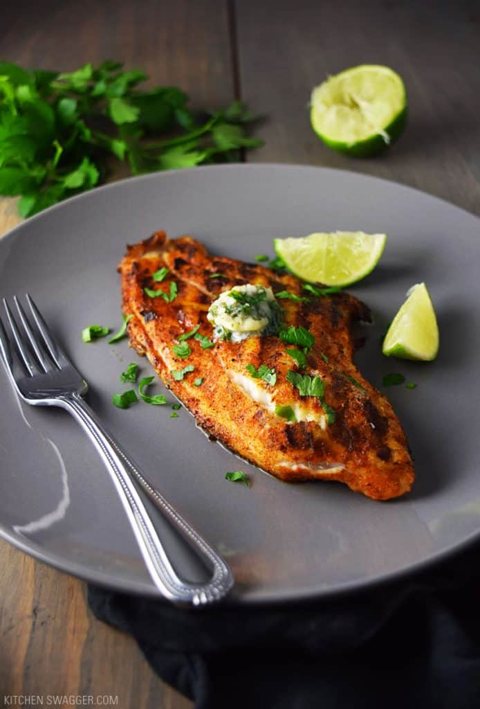 grilled blacked catfish with cilantro lime butter