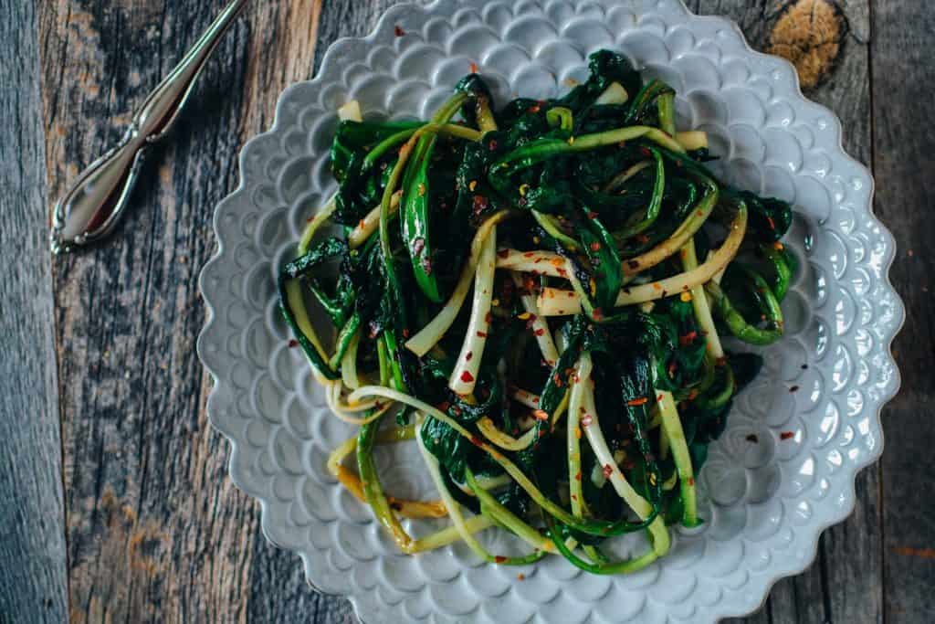 keto caramelized ramps with browned butter