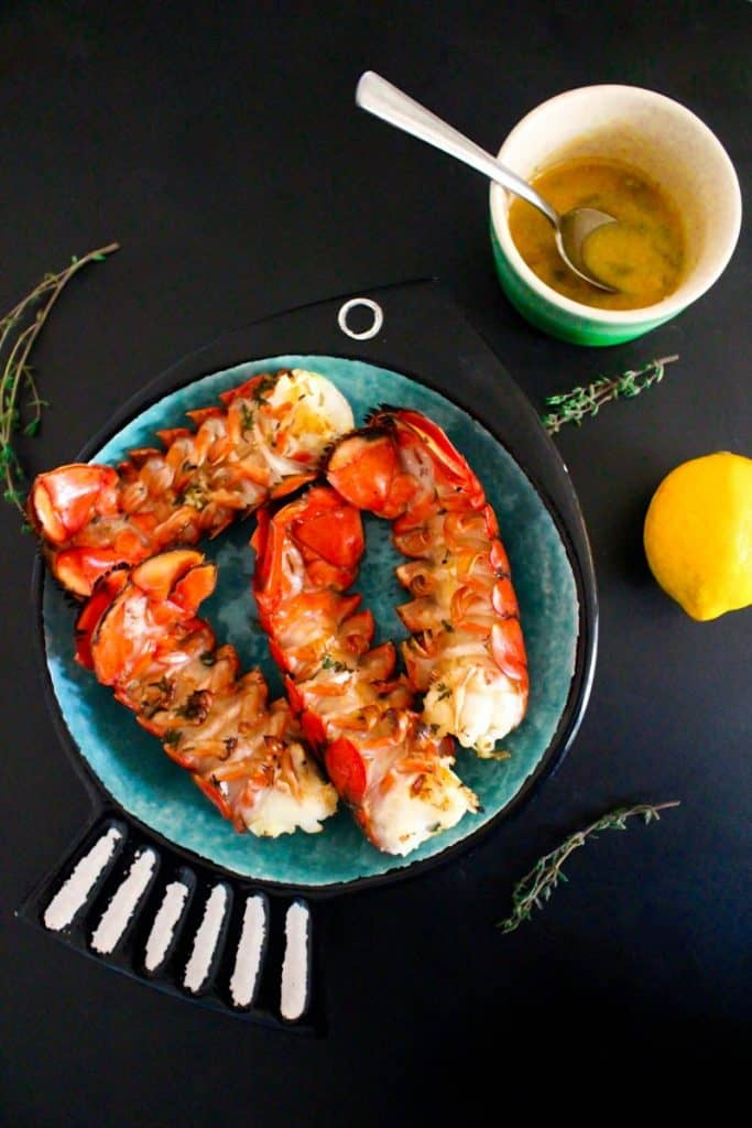 keto lemon butter grilled lobster tails