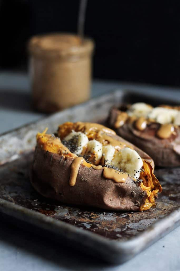 breakfast baked sweet potatoes with almond butter banana and chia