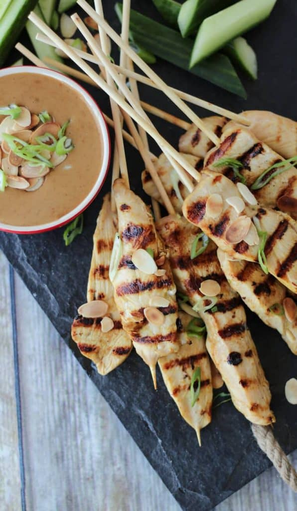 Chicken Satay with Thai Almond Butter Sauce