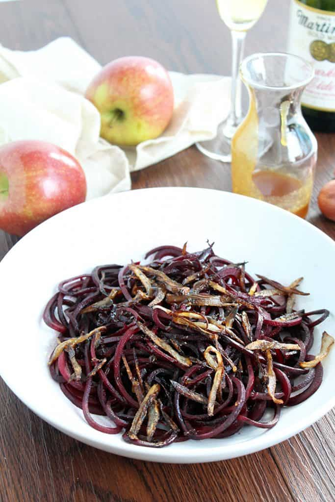 Sparkling Cider Glazed Roasted Beet Noodles with Crispy Shallots