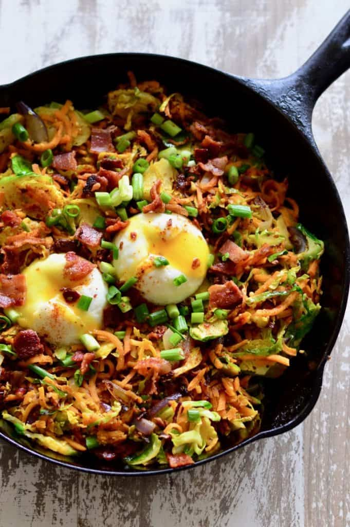 sweet potato and brussels sprouts hash