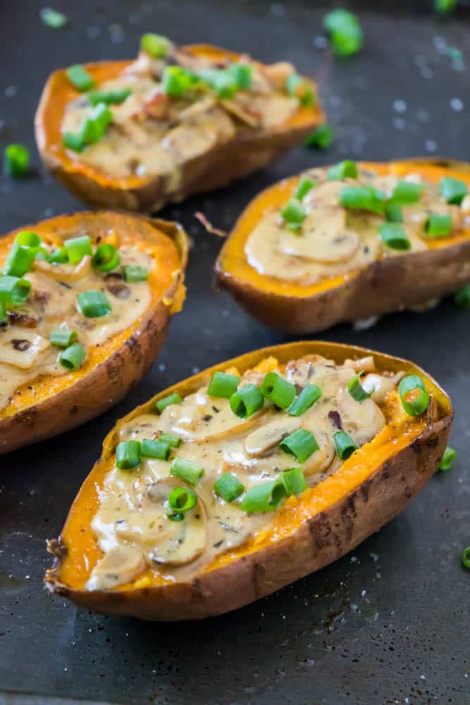 sweet potato boats with bacon cheddar and mushrooms sauce
