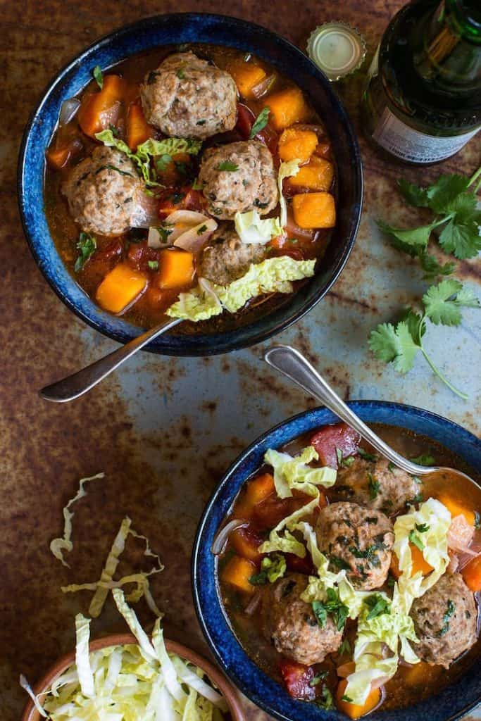 Mexican Meatball Soup with Butternut Squash