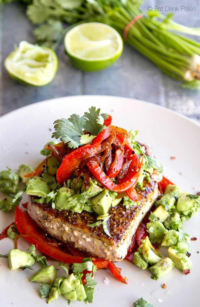 Mexican Tuna Steak with Red Peppers and Avocado Salsa