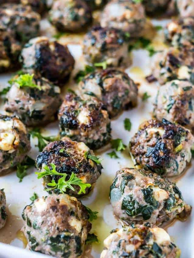 Greek Spanakopita Spinach & Feta Meatballs