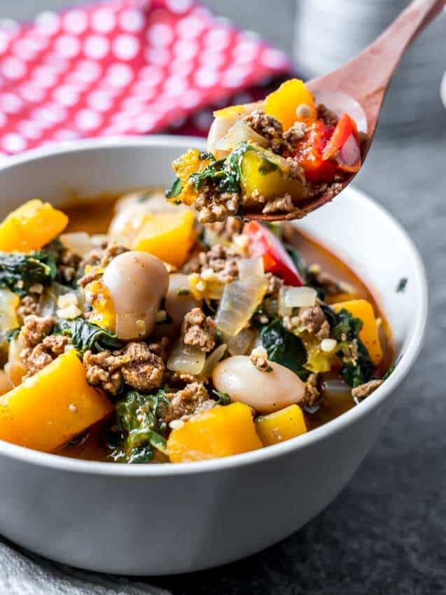 Pork Chili with Butternut and Kale