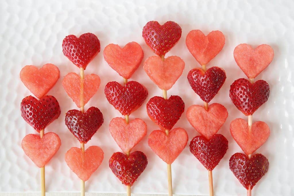 valentines heart fruit kabobs