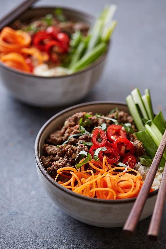 grain free thai beef bowls