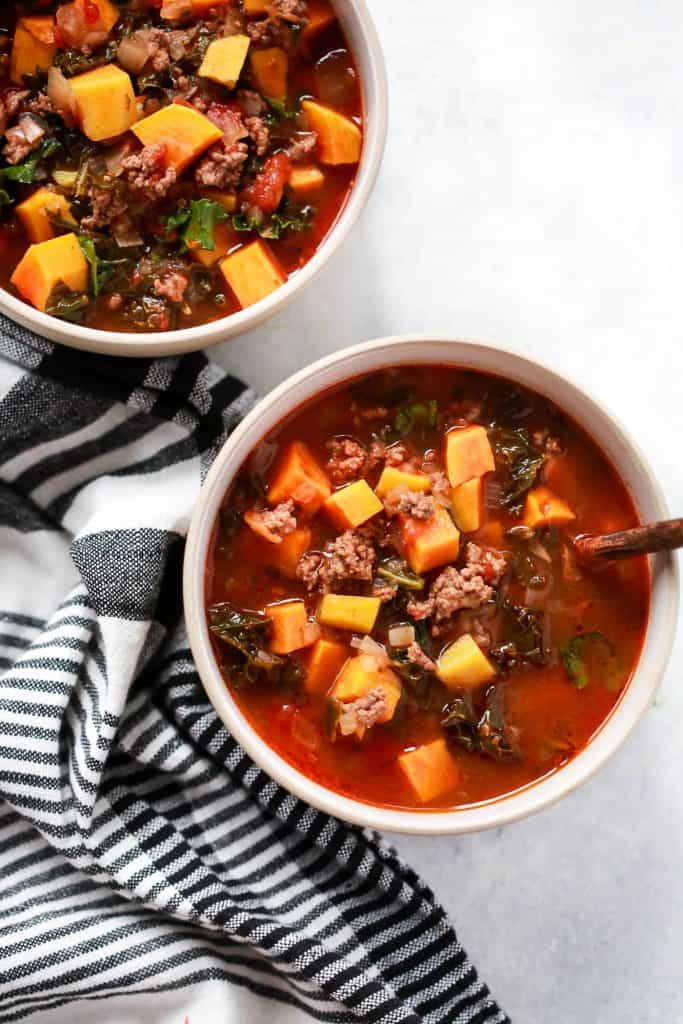 ground beef butternut and kale soup