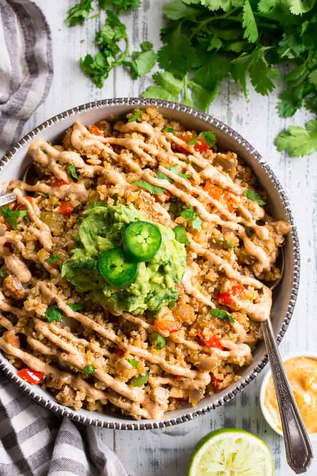Mexican Cauliflower Fried Rice with Ground Beef