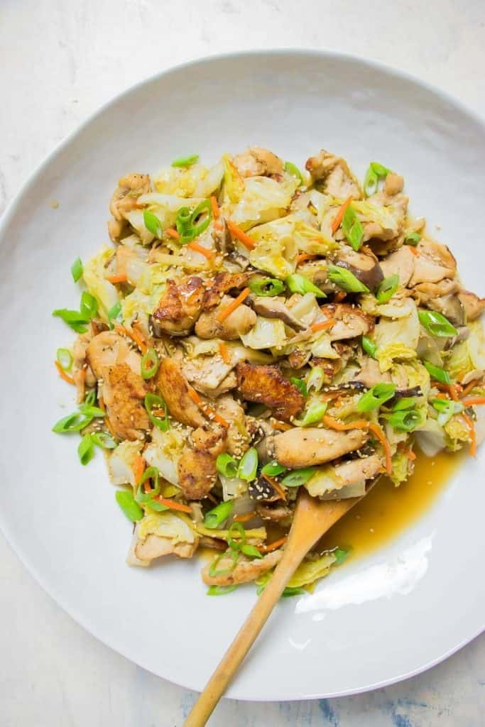 paleo chicken stir fry with cabbage and shiitake