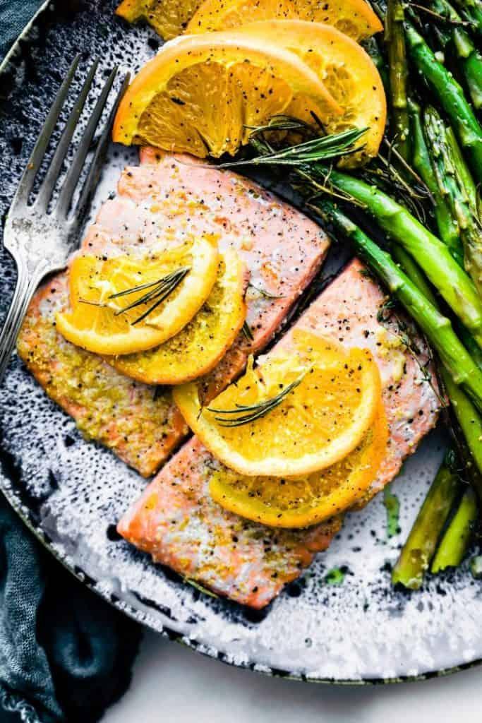 rosemary citrus one pan bake salmon