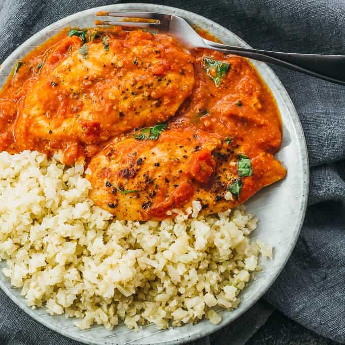 tomato chicken with basil garlic sauce and cauliflower rice