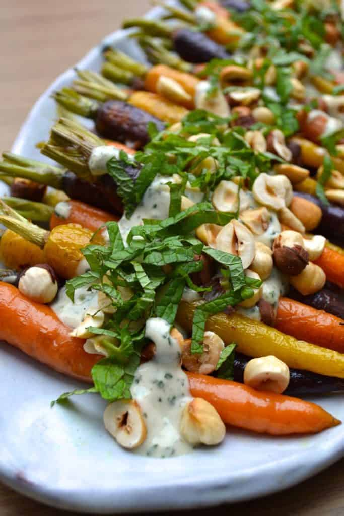 roasted carrots with mint and tahini sauce