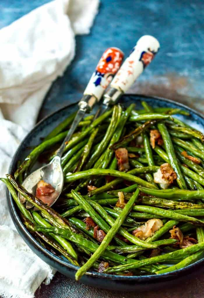 roasted green beans with bacon
