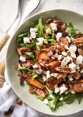 roasted sweet potato salad with goats cheese