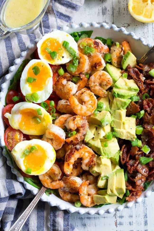 shrimp cobb salad with lemon garlic vinaigrette