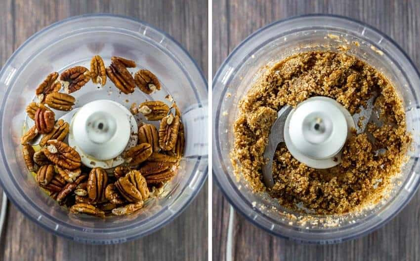 Top process shot of pecan nut crust in a food processor. Before and after belnding.