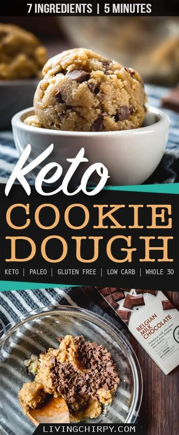An easy recipe for edible raw Keto Cookie Dough. 7 Ingredient. 5 Minutes. Low-Carb. Paleo. Gluten-Free. Whole 30.
