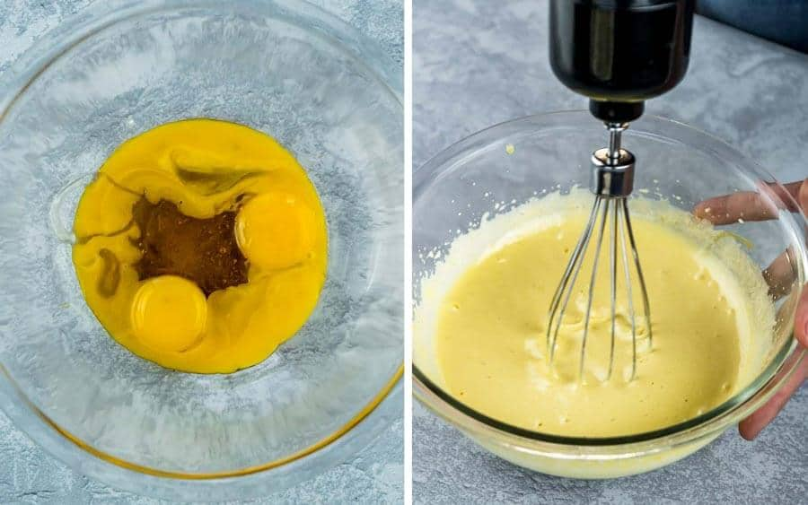side by side process shots of egg and honey whisked until light and frothy.