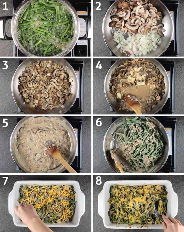 visual step by step instructions on how to make keto green bean casserole