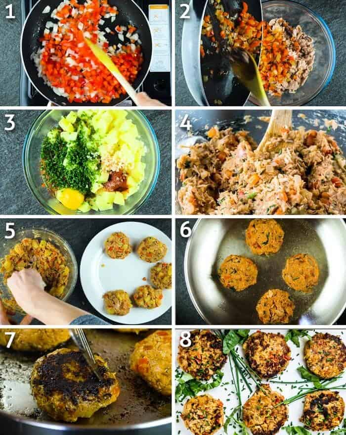 step by step instructions for making healthy paleo tuna fish cakes