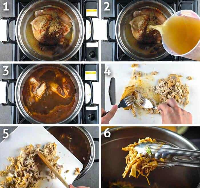 step by step photo grid of shredded chicken cooking process