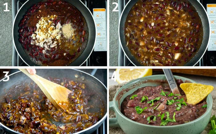 step by step instructions of an easy refried beans recipe made with red kidney beans