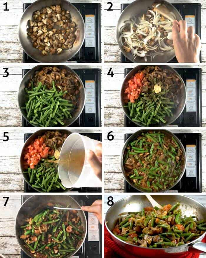 step by step instructions for how to make sauteed green beans with onion and garlic