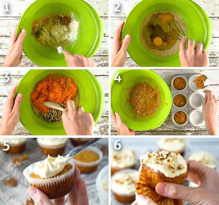 step by step instructions for making healthy gluten-free carrot cake cupcakes