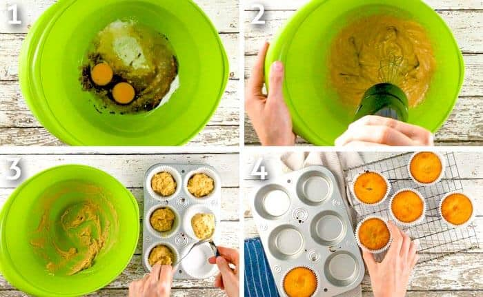 Step by step photo grid of coconut flour muffins baking process.