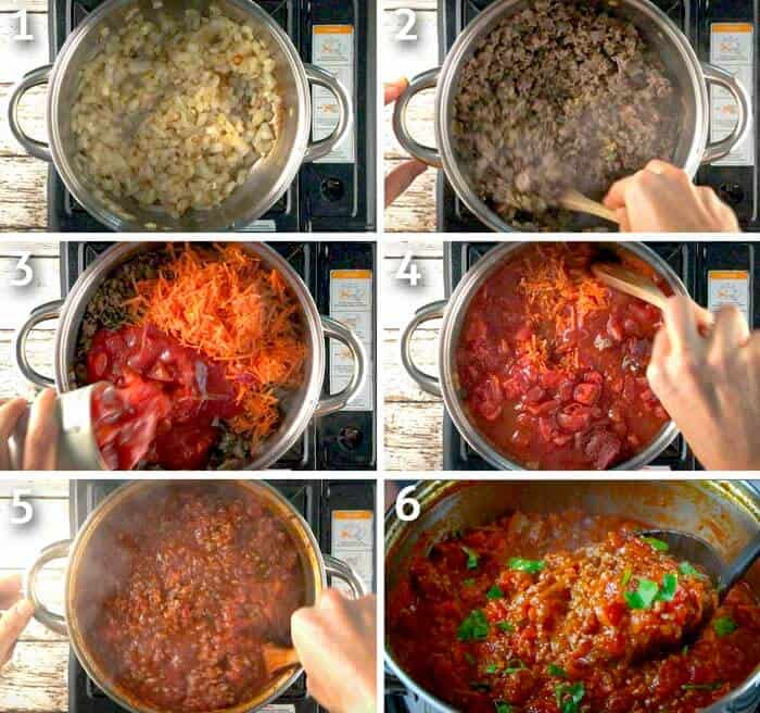 step by step instructions for how to make homemade spaghetti sauce