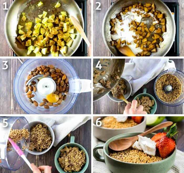 process step by step instructions for making healthy apple crumble