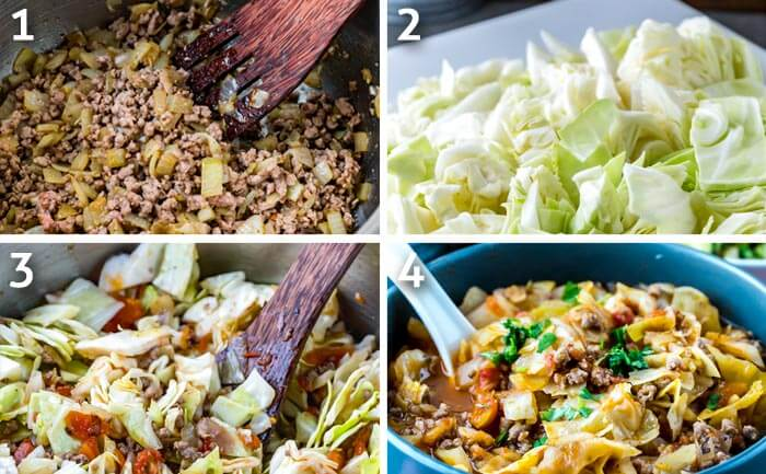 instruction photo grid showing the cooking process of the ground beef and cabbage