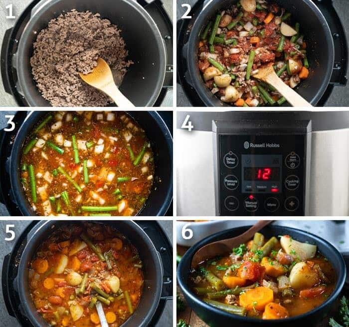 Instant pot ground beef vegetable soup cooking steps in six pictures.