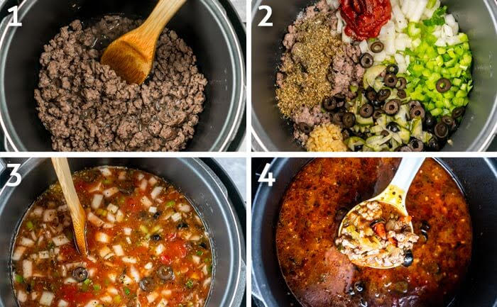 Photo grid of pizza soup cooking steps.