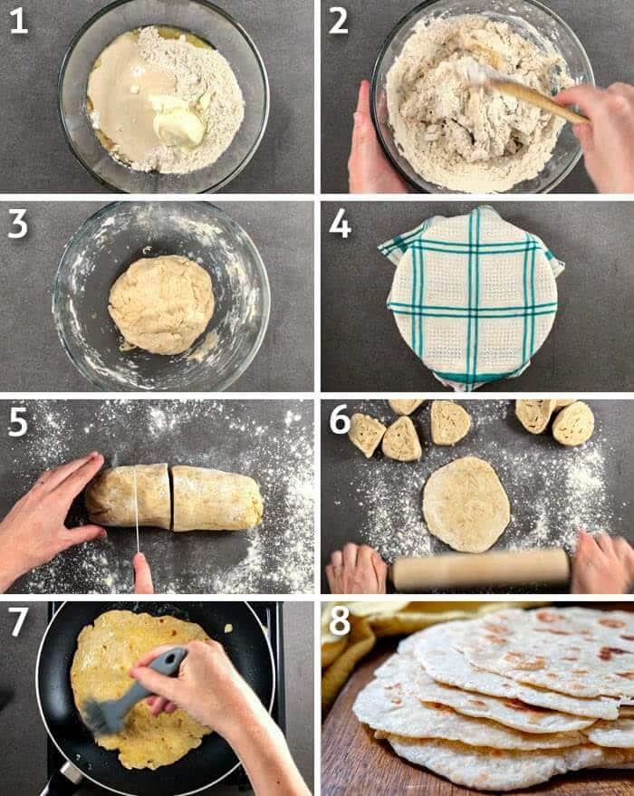 Healthier sourdough flatbread step by step photo grid.