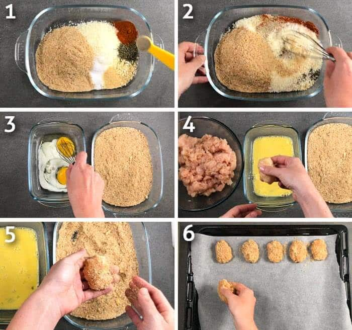 Healthy chicken nuggets cooking step by step photo grid.